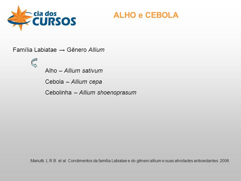 ALHO e CEBOLA Família Labiatae → Gênero Allium Alho – Allium sativum