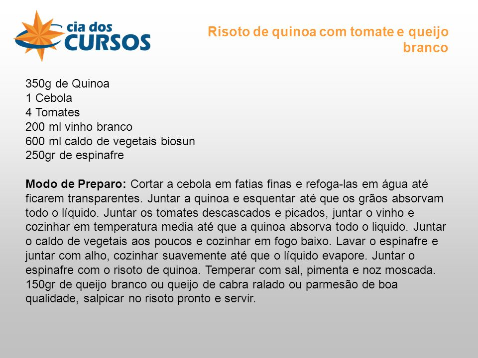 Risoto de quinoa com tomate e queijo branco