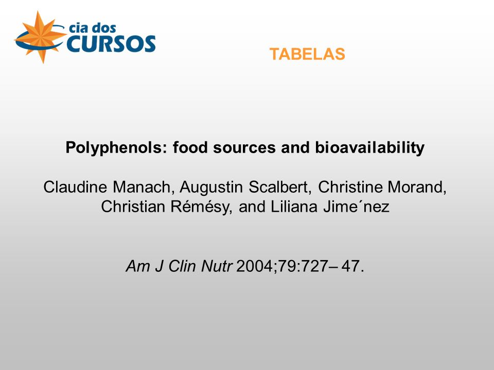 Polyphenols: food sources and bioavailability