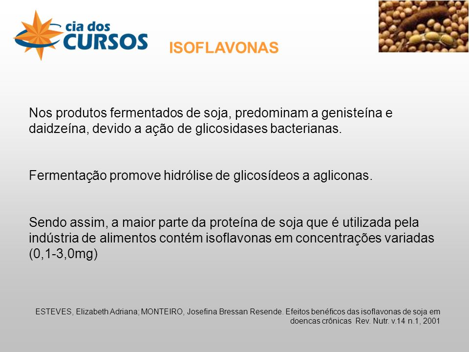 ISOFLAVONAS Nos produtos fermentados de soja, predominam a genisteína e daidzeína, devido a ação de glicosidases bacterianas.