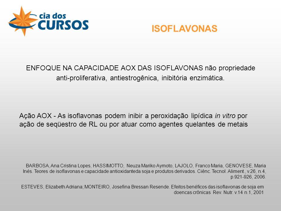 ISOFLAVONAS ENFOQUE NA CAPACIDADE AOX DAS ISOFLAVONAS não propriedade anti-proliferativa, antiestrogênica, inibitória enzimática.