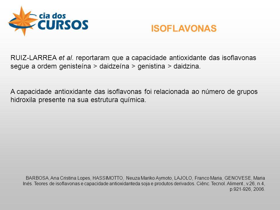 ISOFLAVONAS RUIZ-LARREA et al. reportaram que a capacidade antioxidante das isoflavonas segue a ordem genisteína > daidzeína > genistina > daidzina.