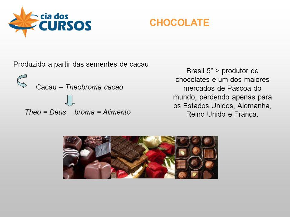 CHOCOLATE Produzido a partir das sementes de cacau