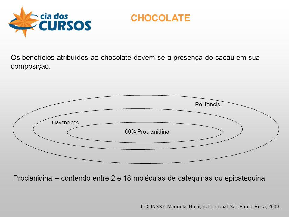 CHOCOLATE Os benefícios atribuídos ao chocolate devem-se a presença do cacau em sua composição. Polifenóis.