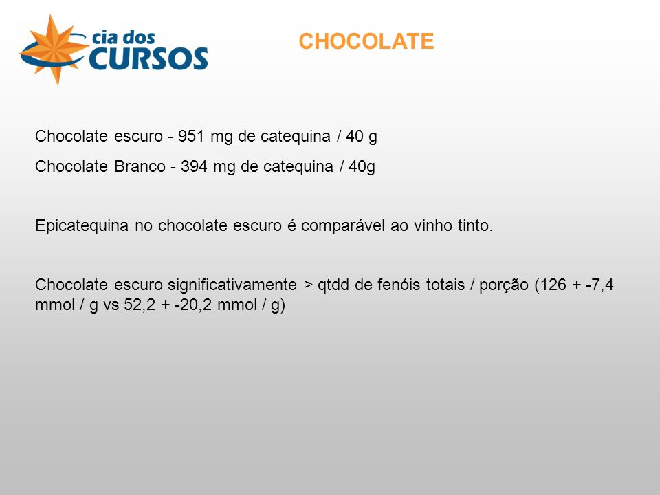 CHOCOLATE Chocolate escuro - 951 mg de catequina / 40 g