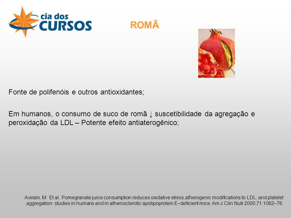 ROMÃ Fonte de polifenóis e outros antioxidantes;