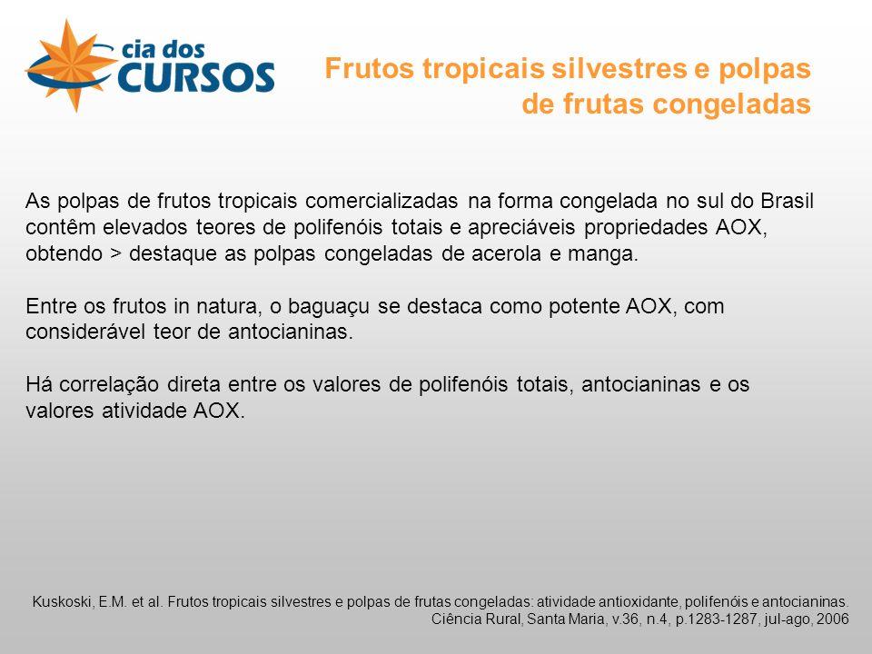 Frutos tropicais silvestres e polpas de frutas congeladas