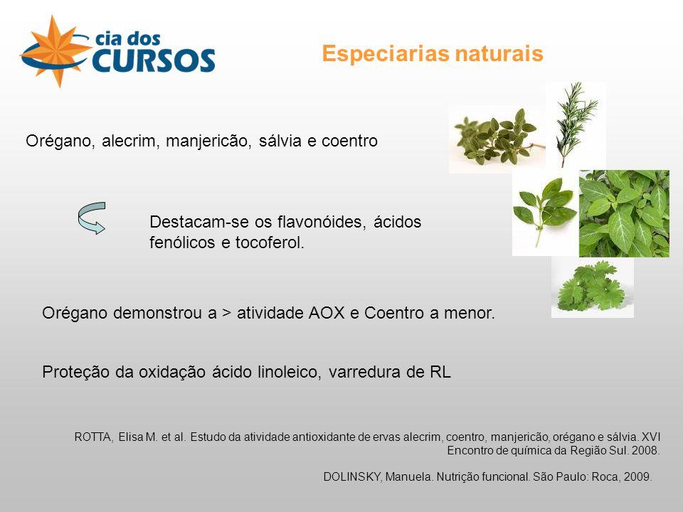 Especiarias naturais Orégano, alecrim, manjericão, sálvia e coentro