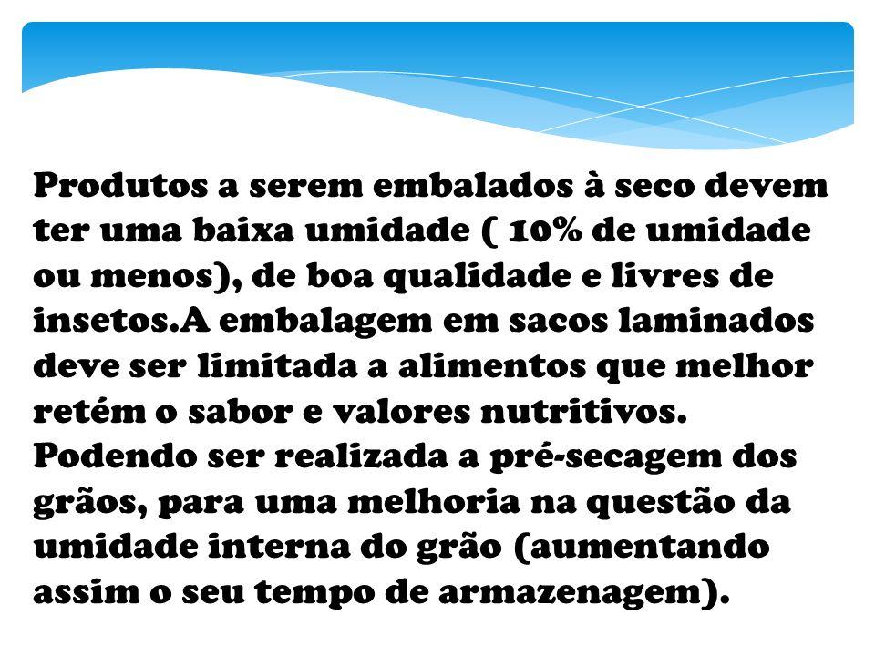 Produtos a serem embalados à seco devem ter uma baixa umidade ( 10% de umidade ou menos), de boa qualidade e livres de insetos.A embalagem em sacos laminados deve ser limitada a alimentos que melhor retém o sabor e valores nutritivos.