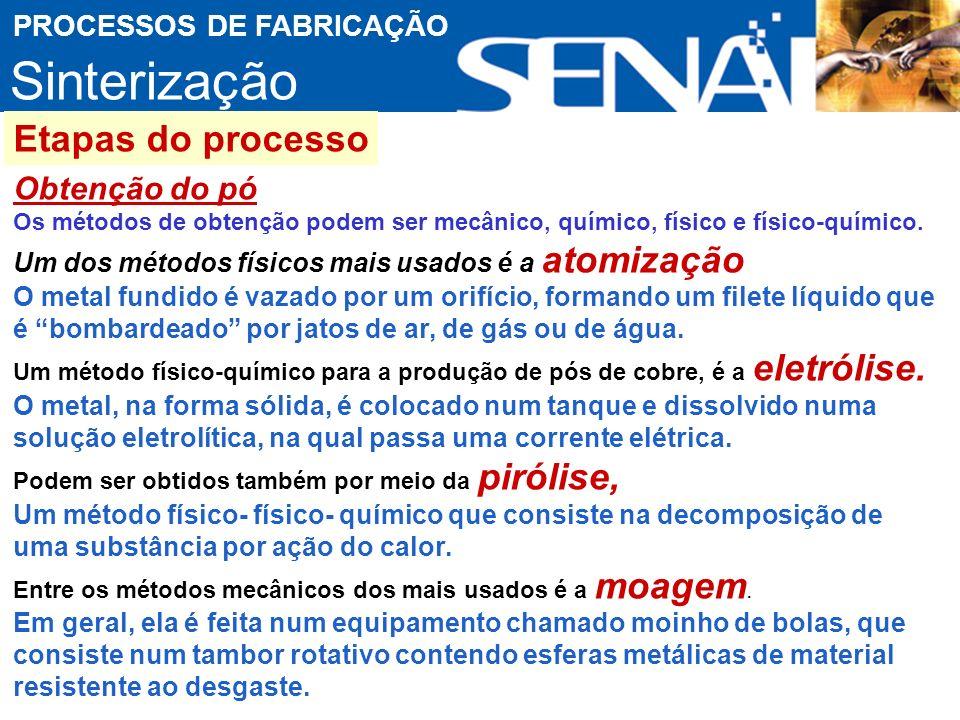 Sinterização Etapas do processo Obtenção do pó PROCESSOS DE FABRICAÇÃO