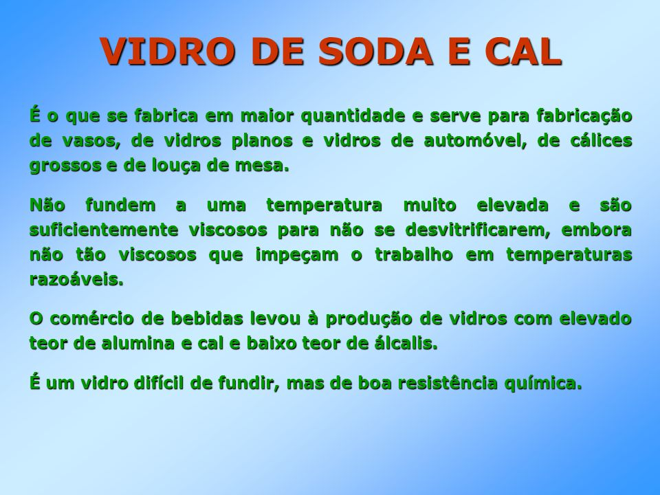 VIDRO DE SODA E CAL