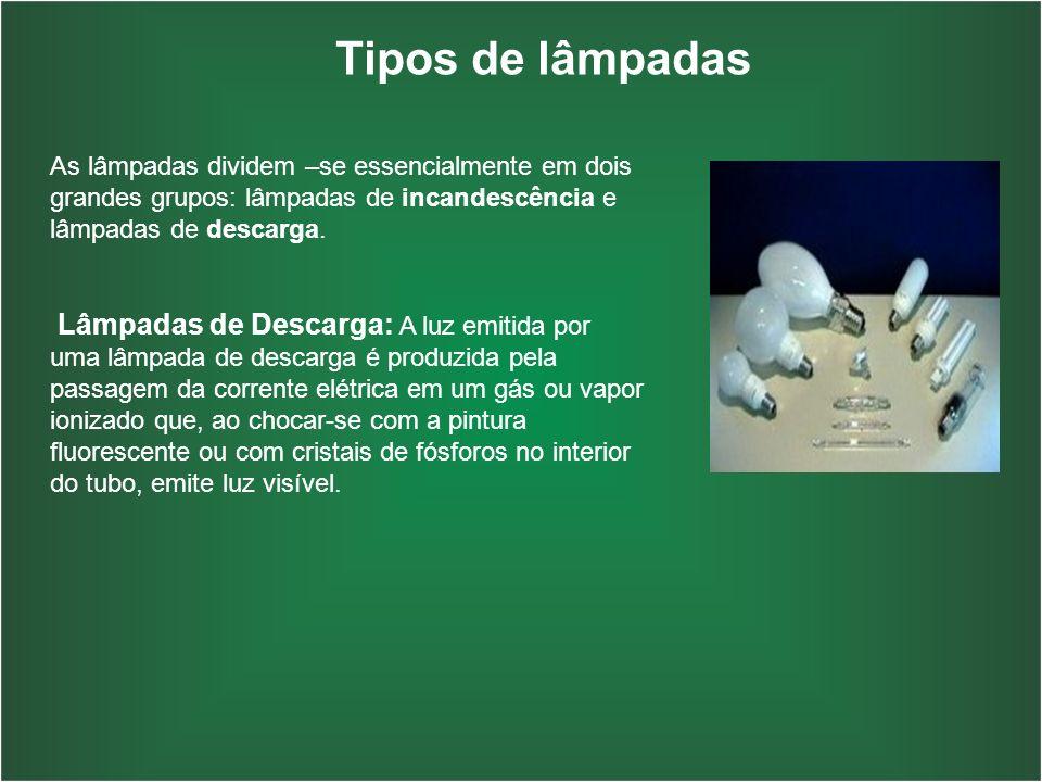 Tipos de lâmpadas As lâmpadas dividem –se essencialmente em dois grandes grupos: lâmpadas de incandescência e lâmpadas de descarga.