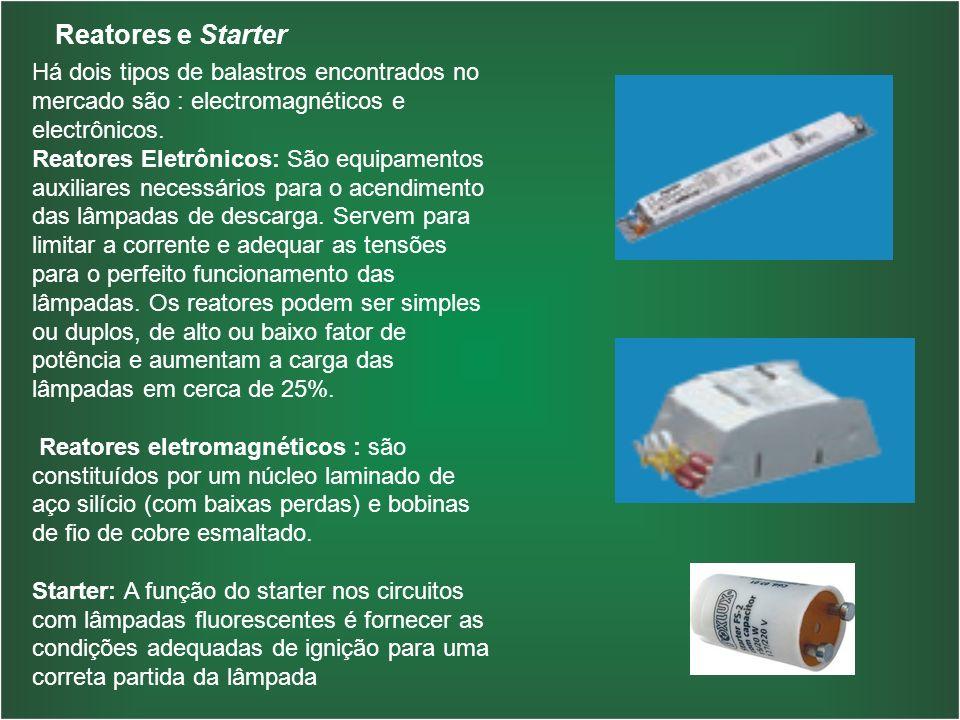 Reatores e Starter Há dois tipos de balastros encontrados no mercado são : electromagnéticos e electrônicos.