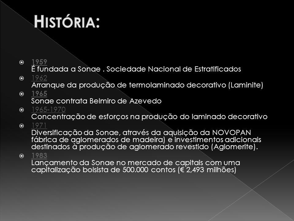 História: 1959 É fundada a Sonae . Sociedade Nacional de Estratificados. 1962 Arranque da produção de termolaminado decorativo (Laminite)