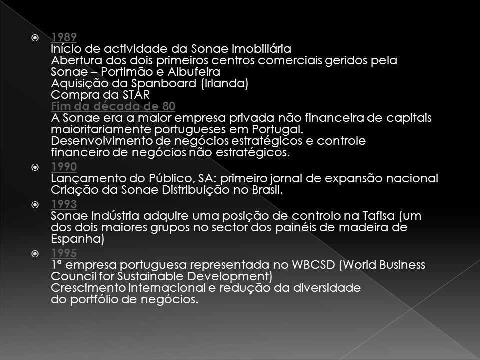 1989 Início de actividade da Sonae Imobiliária Abertura dos dois primeiros centros comerciais geridos pela Sonae – Portimão e Albufeira Aquisição da Spanboard (Irlanda) Compra da STAR Fim da década de 80 A Sonae era a maior empresa privada não financeira de capitais maioritariamente portugueses em Portugal. Desenvolvimento de negócios estratégicos e controle financeiro de negócios não estratégicos.