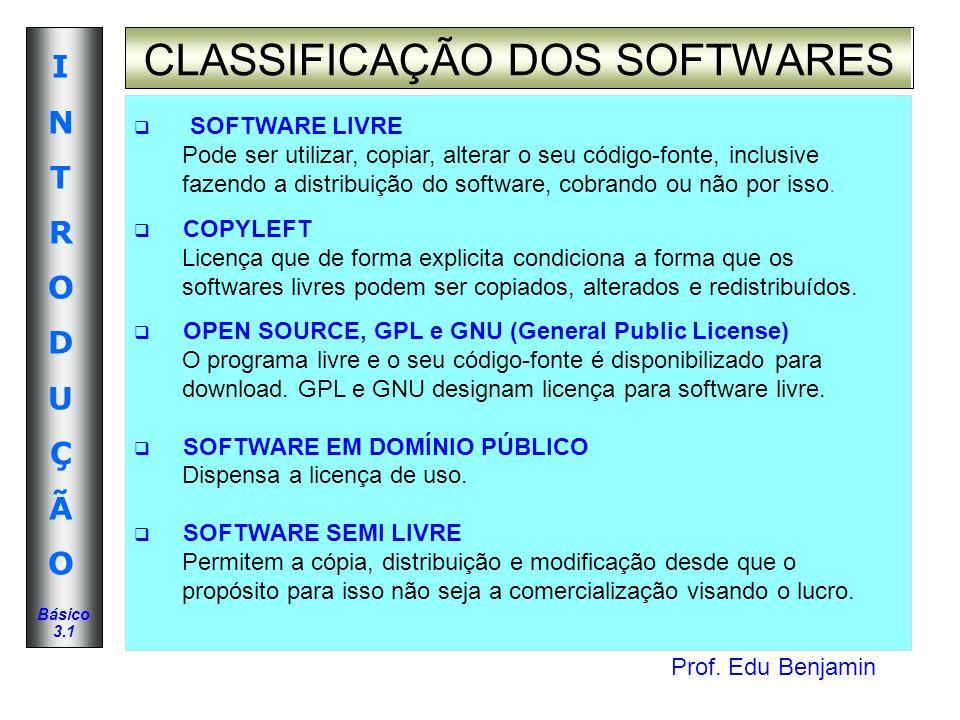 CLASSIFICAÇÃO DOS SOFTWARES