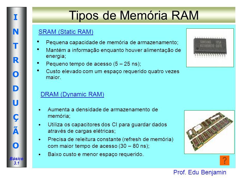 Tipos de Memória RAM SRAM (Static RAM) DRAM (Dynamic RAM)