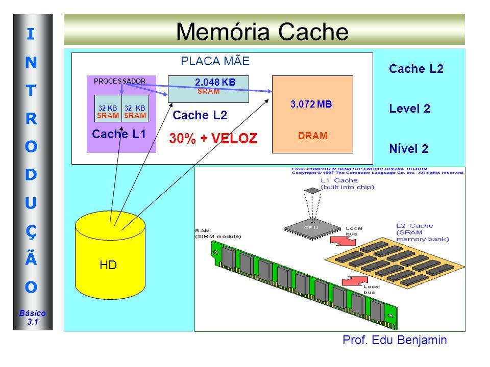 Memória Cache 30% + VELOZ PLACA MÃE Cache L2 Level 2 Nível 2 Cache L2