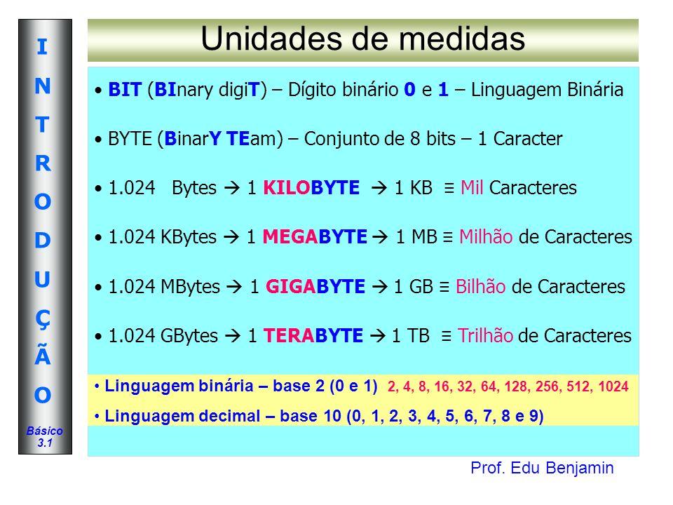 Unidades de medidas BIT (BInary digiT) – Dígito binário 0 e 1 – Linguagem Binária. BYTE (BinarY TEam) – Conjunto de 8 bits – 1 Caracter.