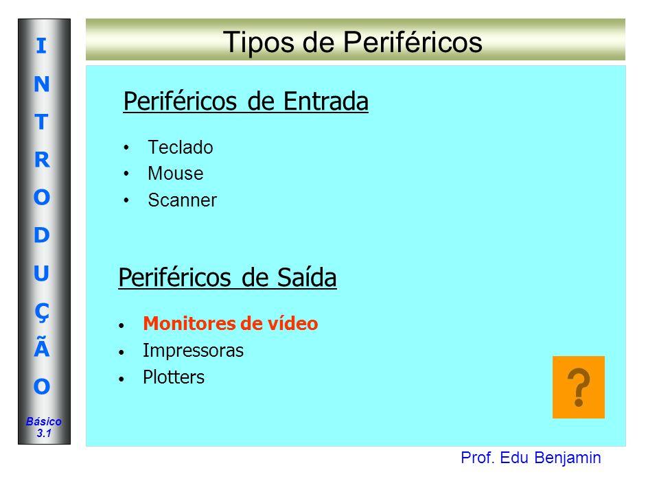 Tipos de Periféricos Periféricos de Entrada Periféricos de Saída