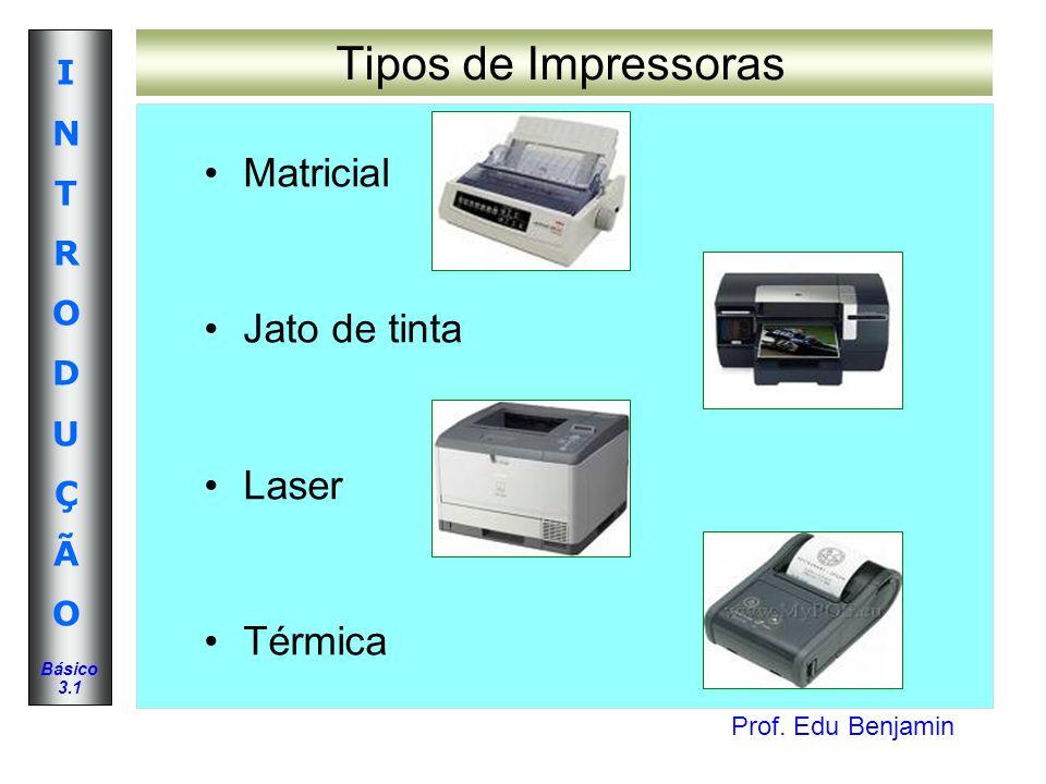 Tipos de Impressoras Matricial Jato de tinta Laser Térmica