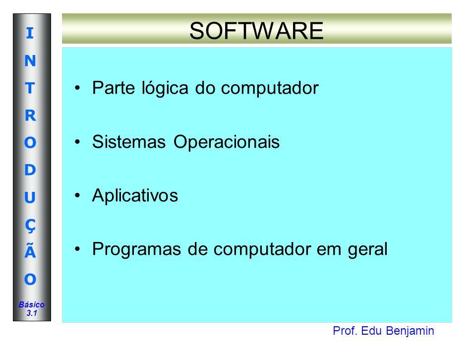 SOFTWARE Parte lógica do computador Sistemas Operacionais Aplicativos