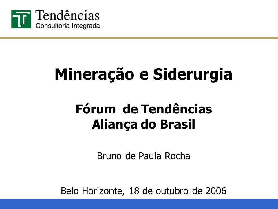 Mineração e Siderurgia Fórum de Tendências Aliança do Brasil Bruno de Paula Rocha Belo Horizonte, 18 de outubro de 2006