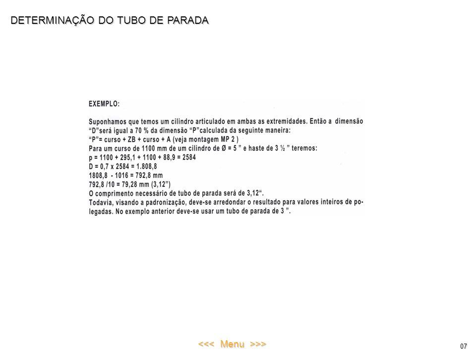 DETERMINAÇÃO DO TUBO DE PARADA