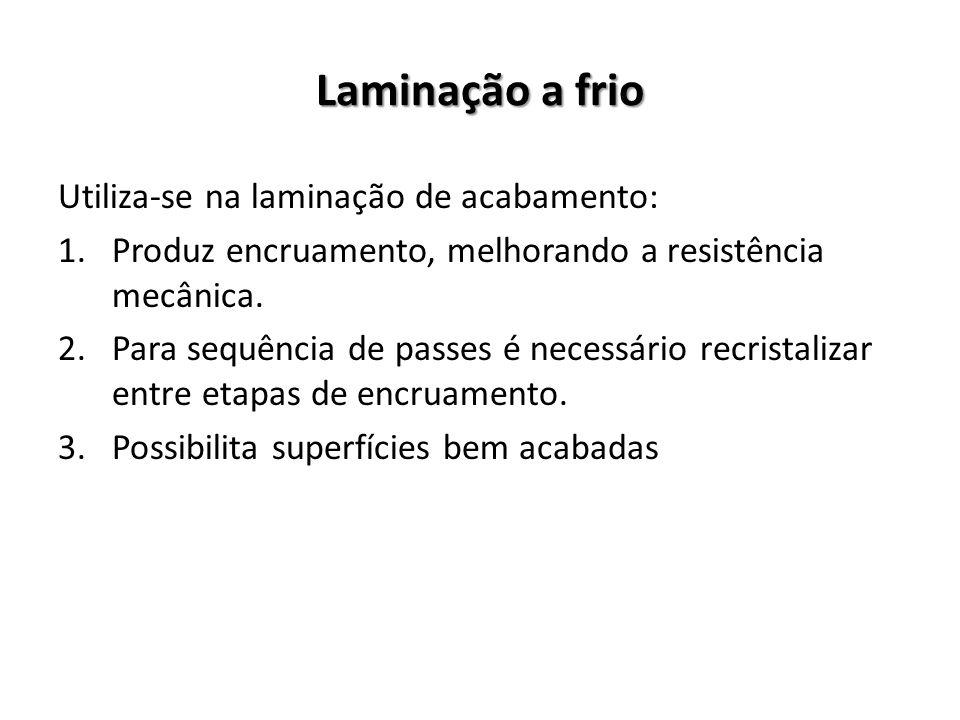 Laminação a frio Utiliza-se na laminação de acabamento: