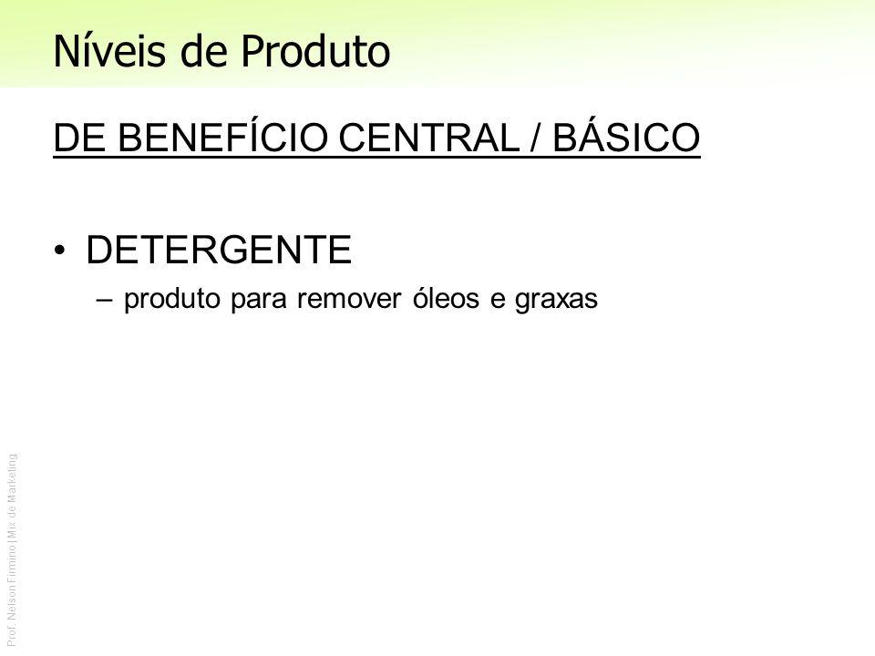 Níveis de Produto DE BENEFÍCIO CENTRAL / BÁSICO DETERGENTE