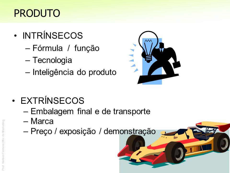 PRODUTO INTRÍNSECOS EXTRÍNSECOS Fórmula / função Tecnologia