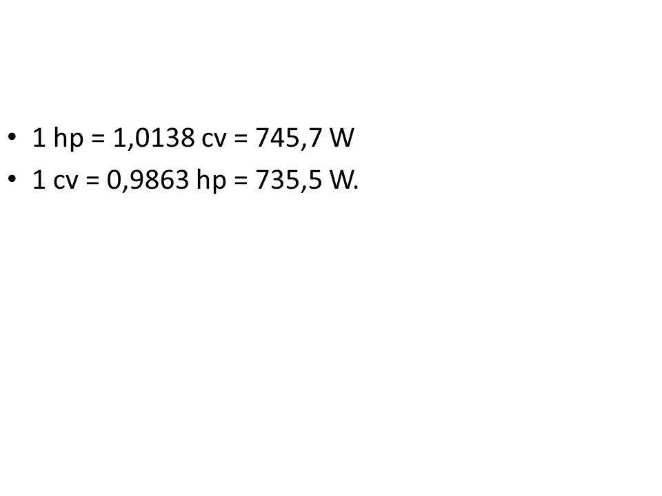 1 hp = 1,0138 cv = 745,7 W 1 cv = 0,9863 hp = 735,5 W.