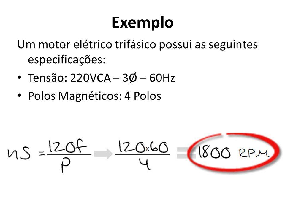 Exemplo Um motor elétrico trifásico possui as seguintes especificações: Tensão: 220VCA – 3Ø – 60Hz.