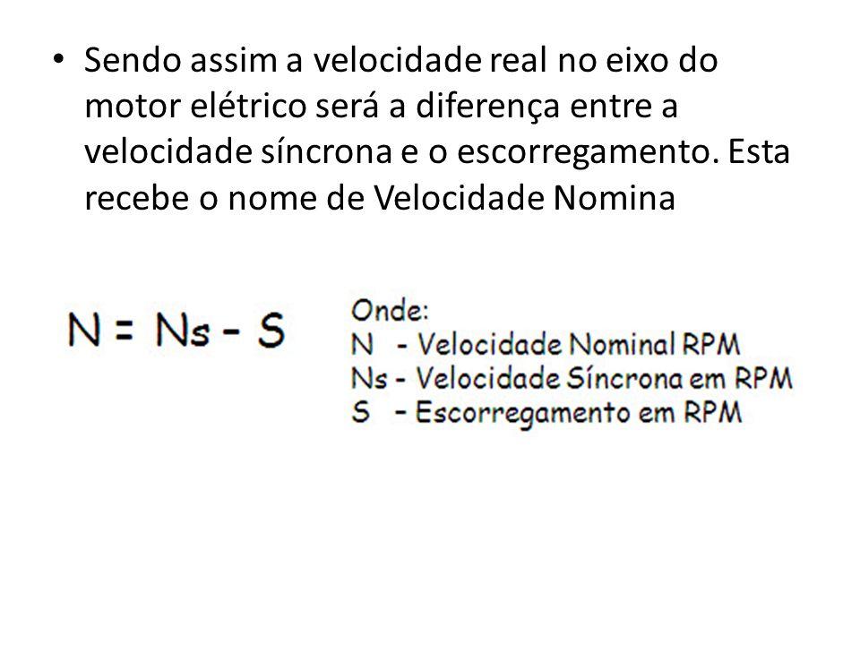 Sendo assim a velocidade real no eixo do motor elétrico será a diferença entre a velocidade síncrona e o escorregamento.