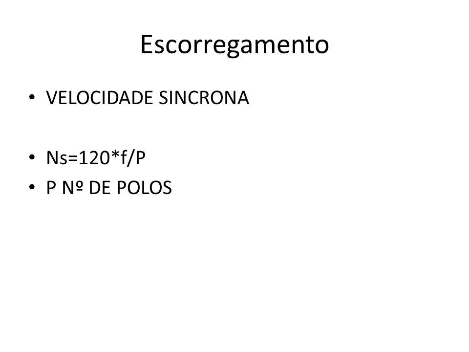 Escorregamento VELOCIDADE SINCRONA Ns=120*f/P P Nº DE POLOS