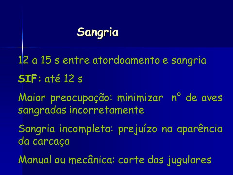 Sangria 12 a 15 s entre atordoamento e sangria SIF: até 12 s