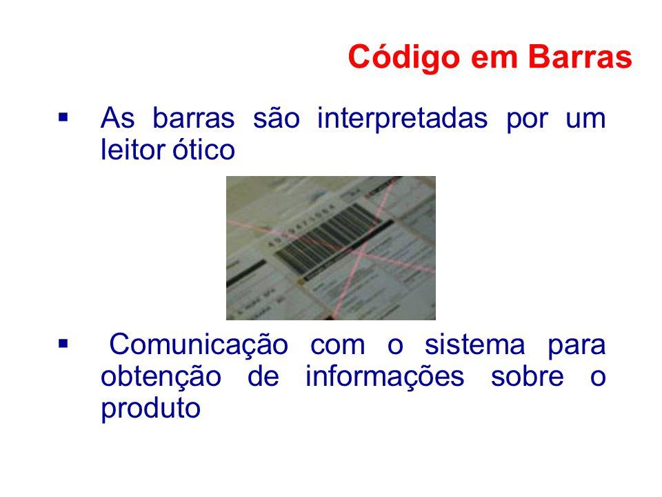 Código em Barras As barras são interpretadas por um leitor ótico
