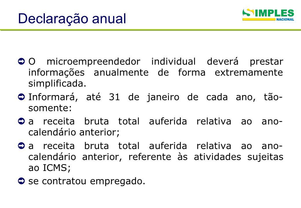Declaração anual O microempreendedor individual deverá prestar informações anualmente de forma extremamente simplificada.