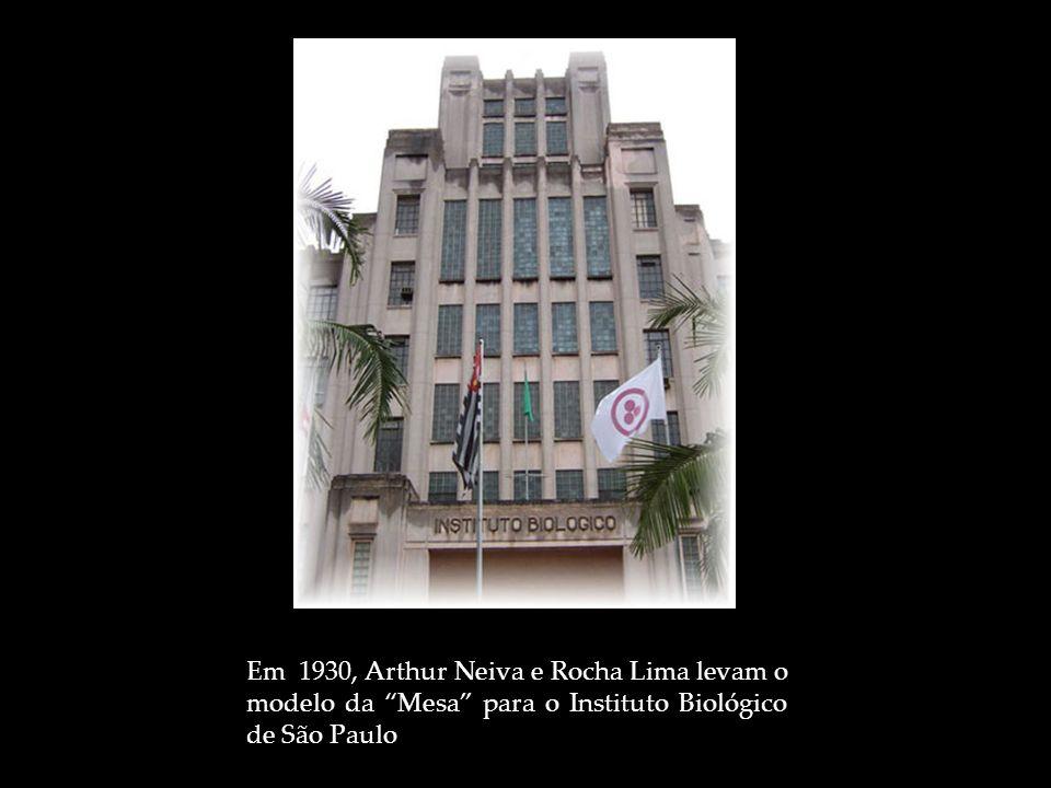 Em 1930, Arthur Neiva e Rocha Lima levam o modelo da Mesa para o Instituto Biológico de São Paulo
