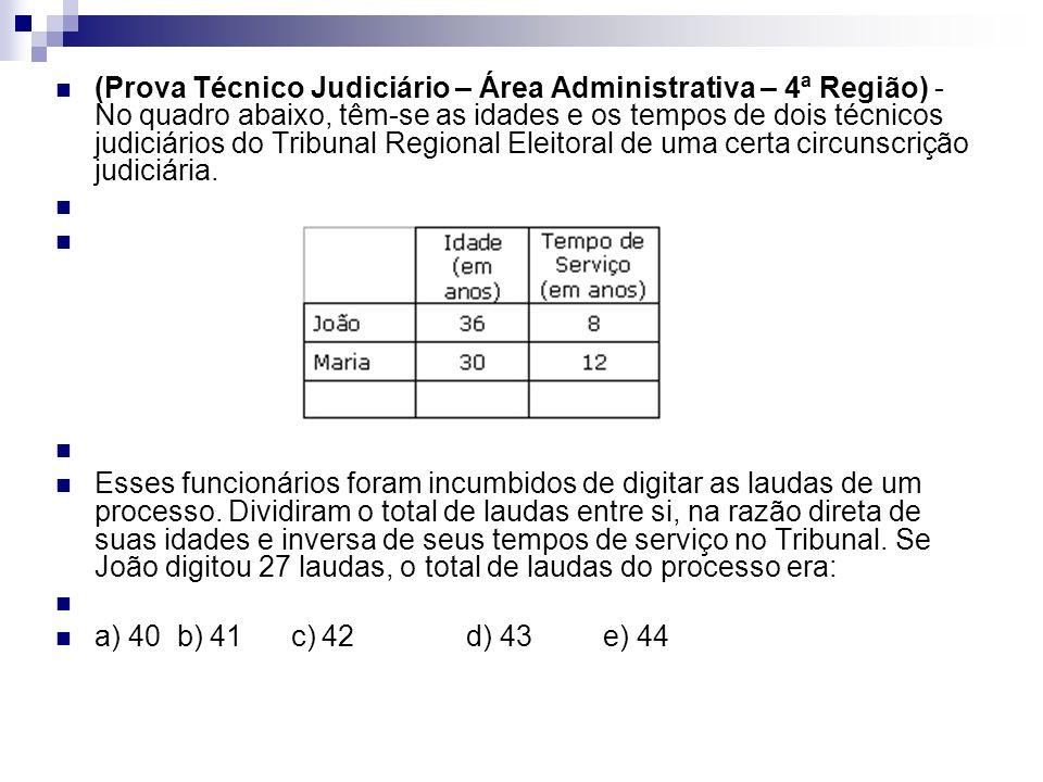 (Prova Técnico Judiciário – Área Administrativa – 4ª Região) - No quadro abaixo, têm-se as idades e os tempos de dois técnicos judiciários do Tribunal Regional Eleitoral de uma certa circunscrição judiciária.