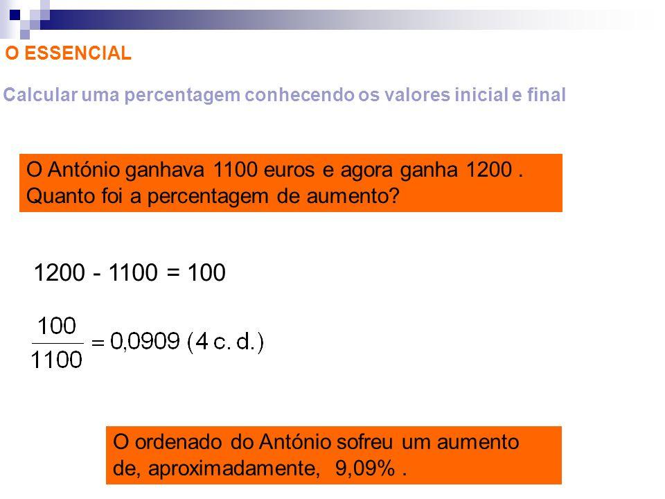 Calcular uma percentagem conhecendo os valores inicial e final
