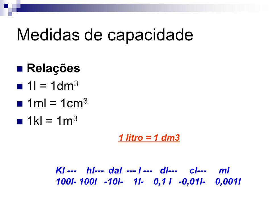 Medidas de capacidade Relações 1l = 1dm3 1ml = 1cm3 1kl = 1m3