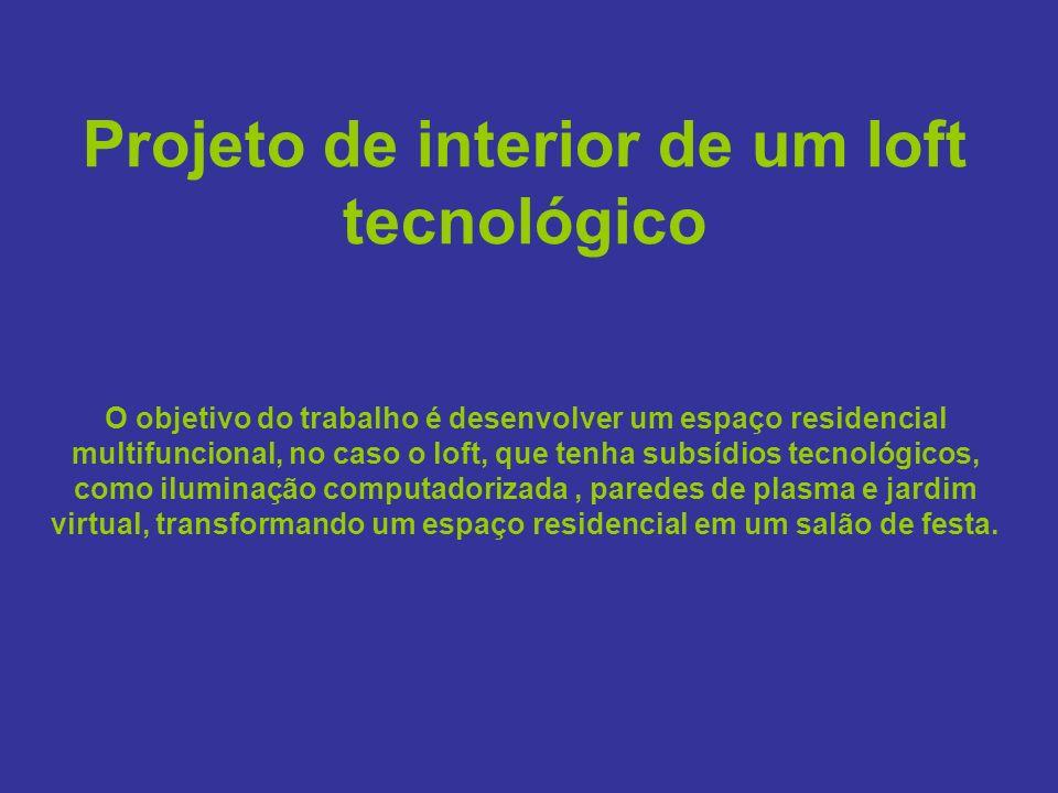 Projeto de interior de um loft tecnológico