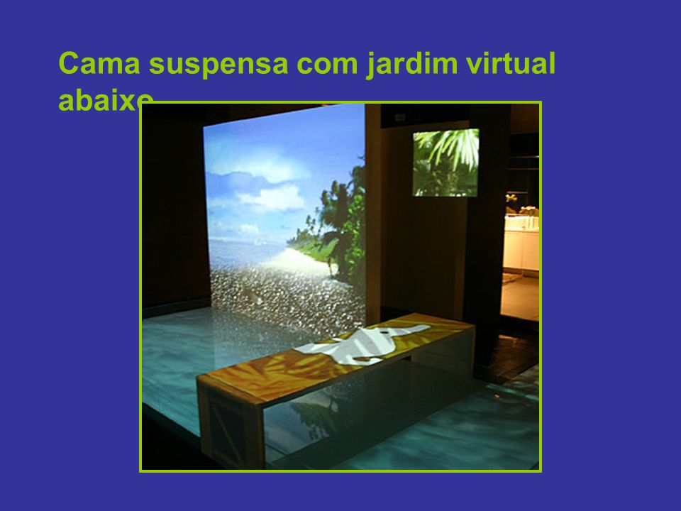 Cama suspensa com jardim virtual abaixo
