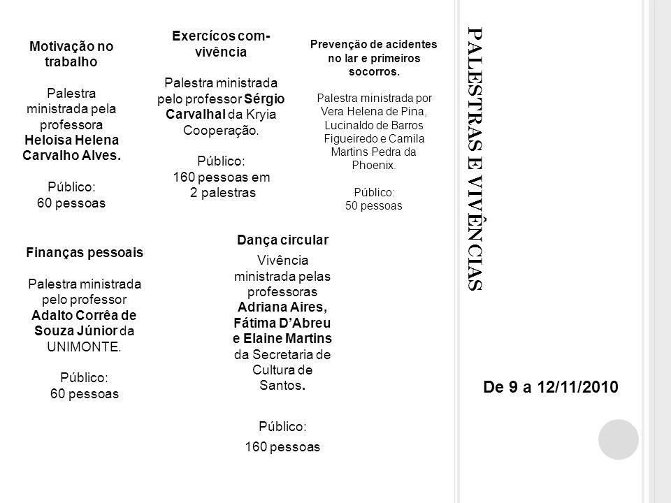 PALESTRAS E VIVÊNCIAS De 9 a 12/11/2010 Exercícos com-vivência