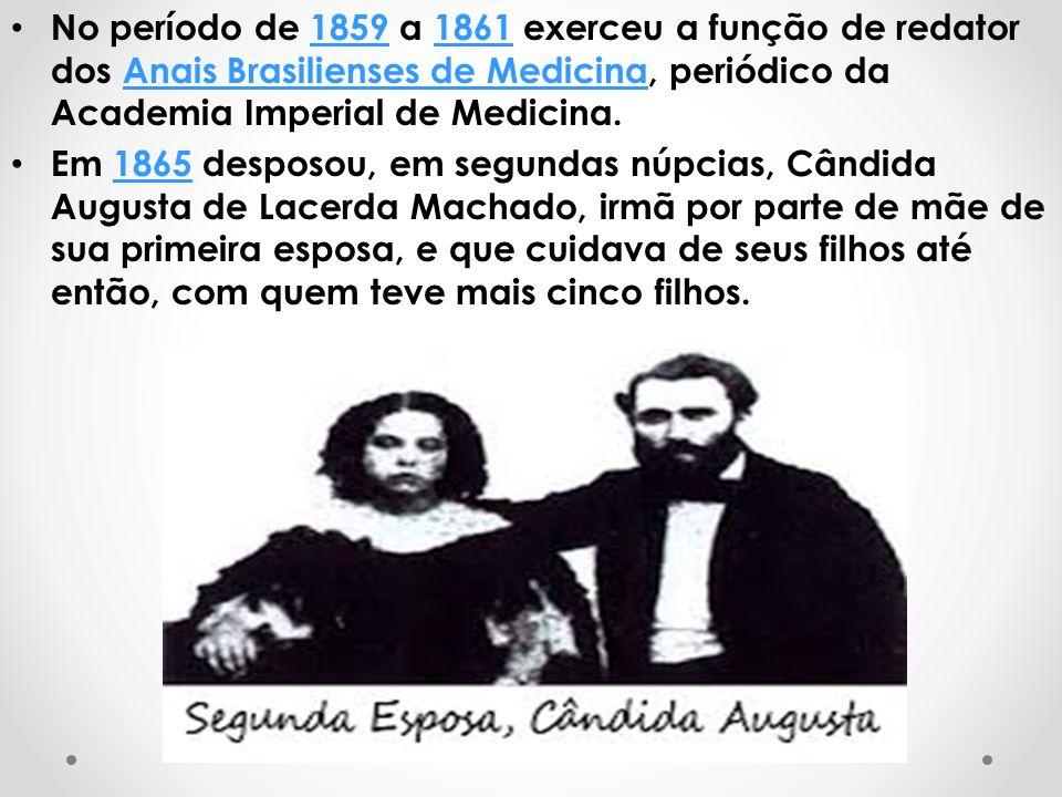 No período de 1859 a 1861 exerceu a função de redator dos Anais Brasilienses de Medicina, periódico da Academia Imperial de Medicina.