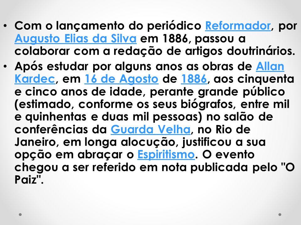 Com o lançamento do periódico Reformador, por Augusto Elias da Silva em 1886, passou a colaborar com a redação de artigos doutrinários.