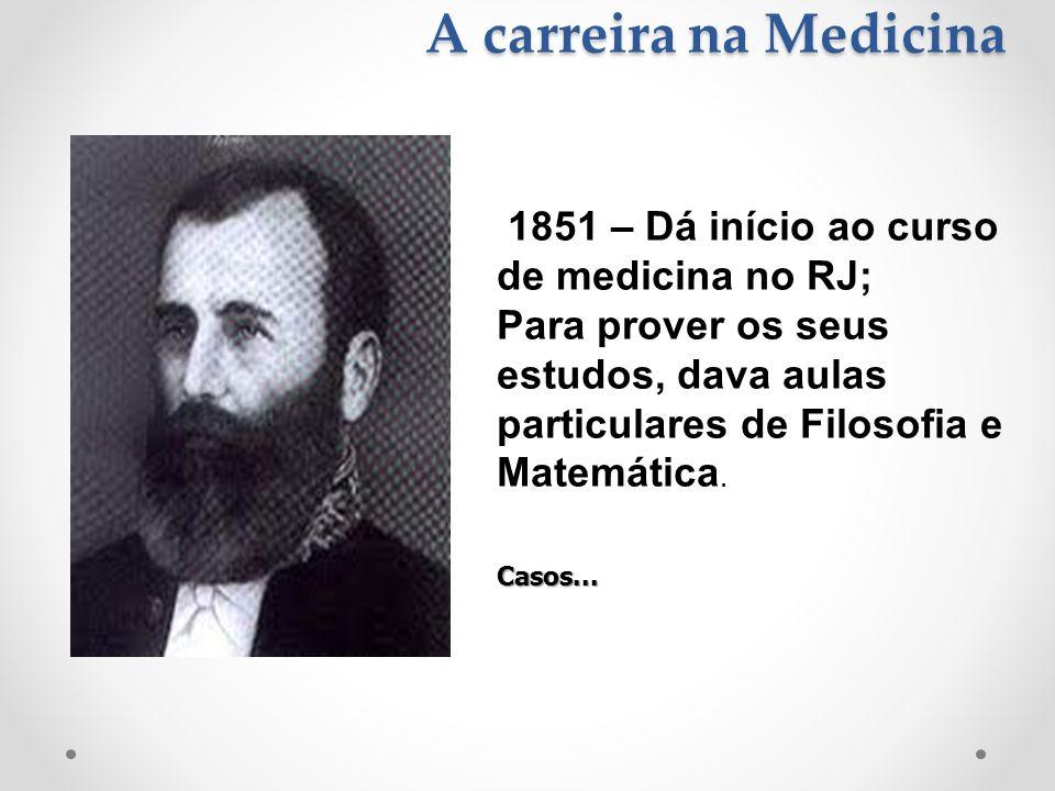 A carreira na Medicina 1851 – Dá início ao curso de medicina no RJ;