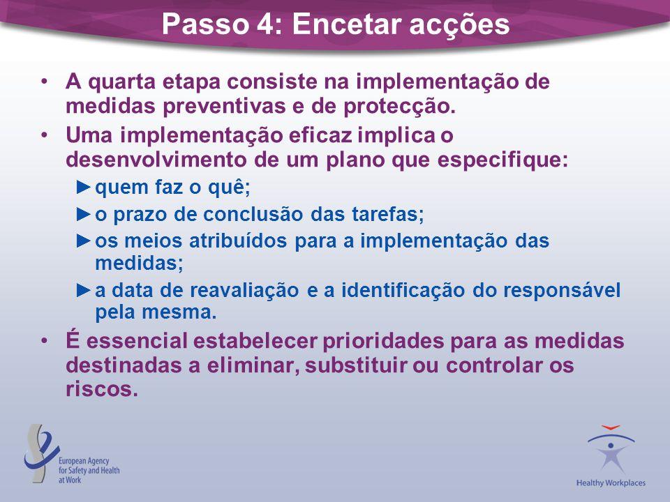Passo 4: Encetar acções A quarta etapa consiste na implementação de medidas preventivas e de protecção.