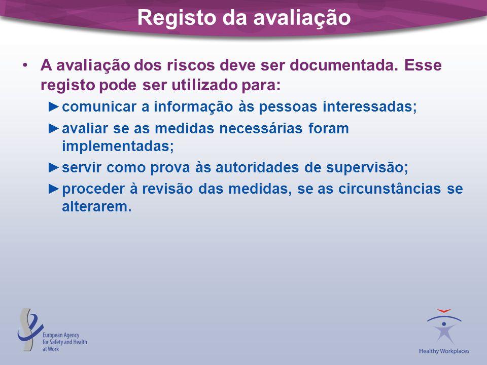 Registo da avaliação A avaliação dos riscos deve ser documentada. Esse registo pode ser utilizado para: